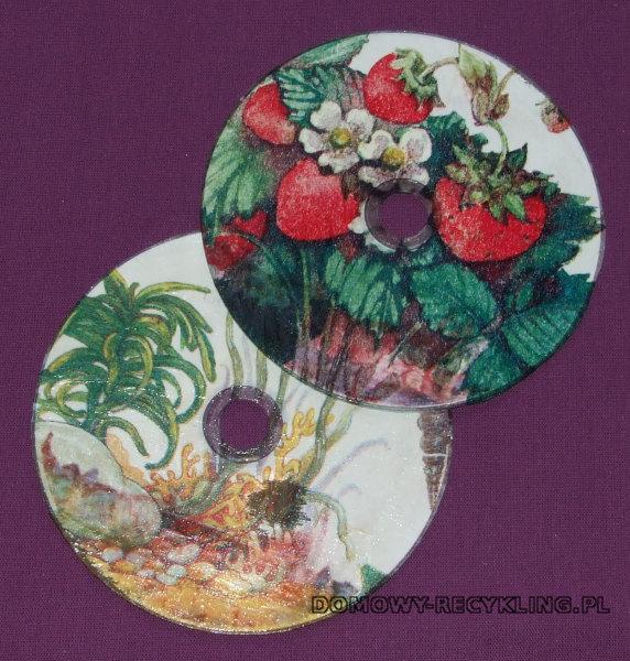 Płyty CD ozdobione techniką decoupage