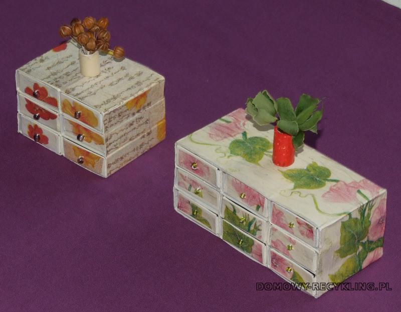 Małe komódki z pudełek po zapałkach