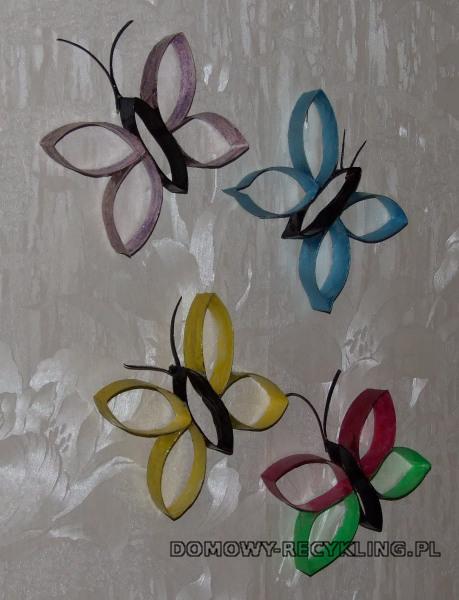 Motyle z rolek po papierze toaletowym