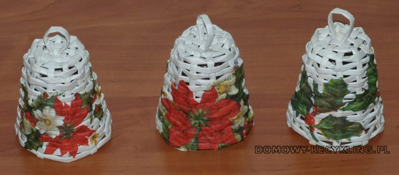 Dzwonki na choinkę z wikliny papierowej